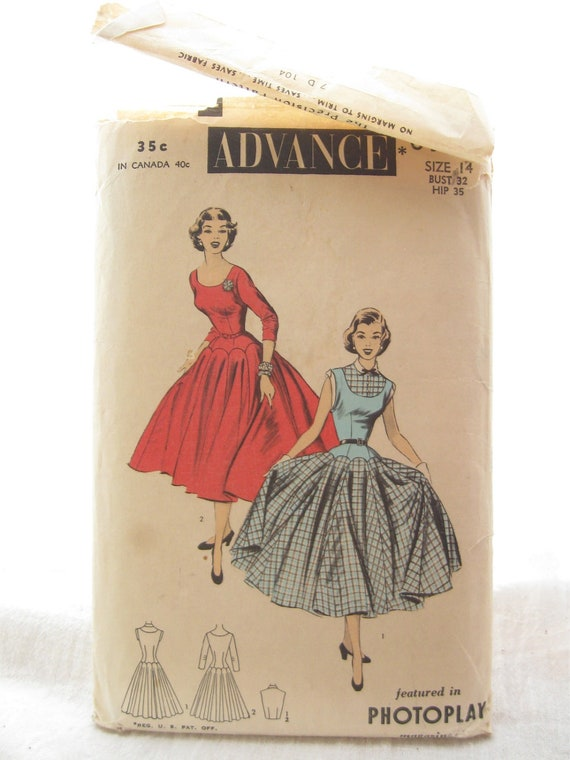 Advance 6509 1960s Full Skirt Party Dress Sewing Pattern Bust 32