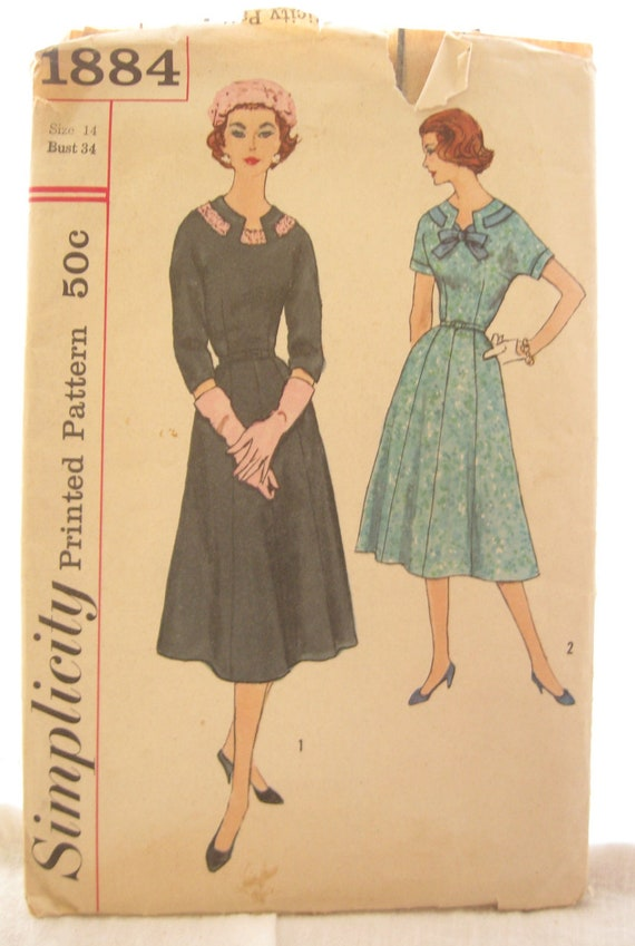 Simplicity 1884 Keyhole Dress 1950s Vintage Sewing Pattern Bust 34