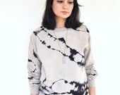 Hand Dyed Striped Sweater Black and Taupe River Rock Pattern