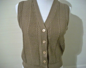Vintage 70s 80s beige button up sweater vest - FREE shipping worldwide