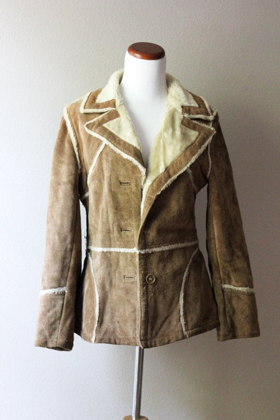 Vintage Brown Suede Jacket // Faux Fur Lining SMALL