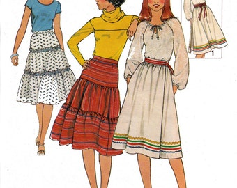 70s Boho Peasant Skirt Pattern Pattern Simplicity 8076 Tiered Skirt Vintage Sewing Pattern Size 6-8 or 10 or 14