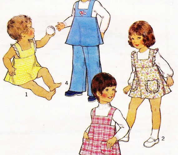 70s Vintage Toddlers Pattern Style 4758 Girls Pinafore Dress Top Pants &  Size 2 Breast 21