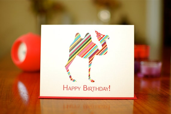 Hump Day Birthday Card - Rainbow Striped Camel in Party Hat - 100% Recycled Paper
