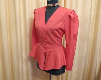 Vintage 1980s Victorian Style Pink Jacket Blazer