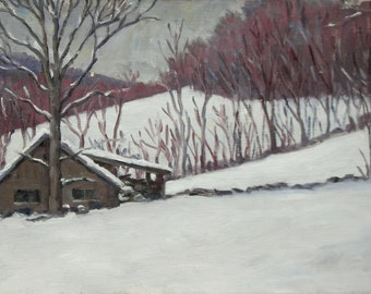 Snow Shapes, Berkshires in Winter. 10x17 American Realist Oil Landscape Painting on Panel, Signed Original Plein Air Impressionist Fine Art