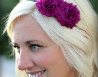 Plum Shabby Chic Flower Headband for Adults and Teens