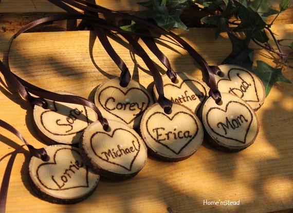 Rustic Wedding Tokens Mason Jar Decoration Custom Names / Dates / Mr. Mrs. Christmas Ornament Inside Hearts Table Centerpiece