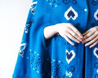 SALE 70's FRINGE JACKET Blue Heart Cape / Butterfly Shawl / Poncho / Vintage Coat / Jacket / Sweater / Fringe