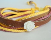 Sale - Floral Leather Cord Bracelet