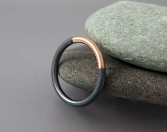 Married 14k Gold and Sterling Silver Ring - Two Tone 2mm Round Band