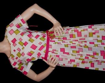 1960s Deadstock Vintage NWT Dress / 50s 60s Geometric Print Dress with Pleated Skirt R&K Originals - Size L XL Plus Size