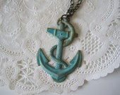 Pin Up Anchor Necklace Green Verdigris Patina Necklace Tattoo Jewelry Sailor Nautical Jewelry Vintage Style Jewelry Sale