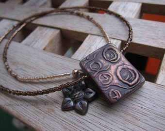 SALE - Copper circles necklace - rectangle pendant - hand stamped polymer clay and glass