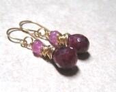 14K Gold Filled Ruby Earrings,  Wire Wrapped Pink Sapphire Earrings,  July Birthstone Jewelry