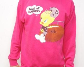 OAKLAND RAIDERS vintage TWEETY bird pink sweatshirt