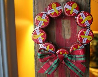 Miller High Life Christmas Ornament -- Beer Bottle Caps Wreath