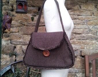 brown wool herringbone tweed bag