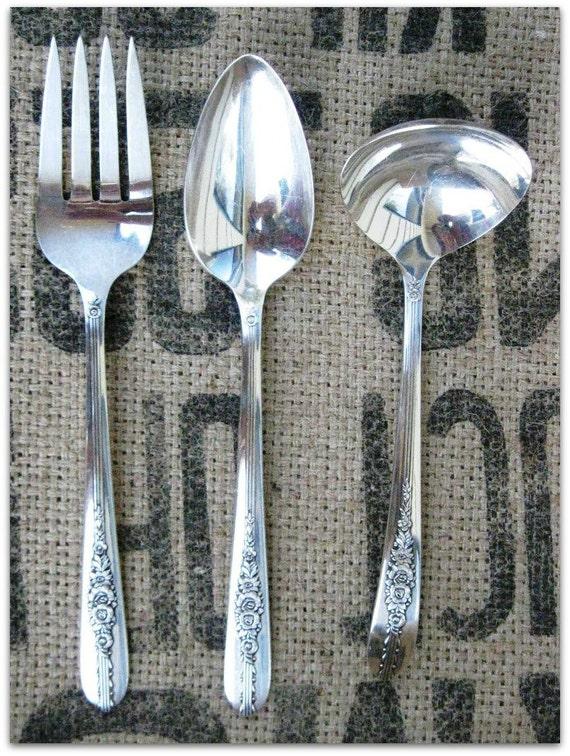 Royal Rose, Nobility Plate Serving Set, Gravy Ladle, Serving Fork, Serving Spoon, Vintage Silverware, Circa 1939 Flatware, Beautiful Floral