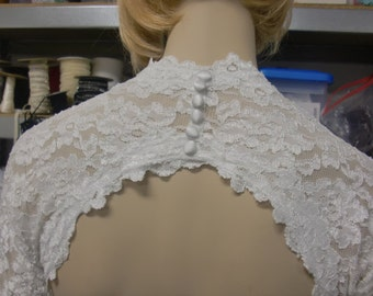 Lace Wedding Shrug, Cover Up, Keyhole Wedding Bolero in Stretch Lace