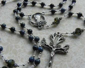 Catholic Rosary - Dogwood Tree - Virgin Mary Rosary Beads in Pewter and Dark Blue - Blessed Mother