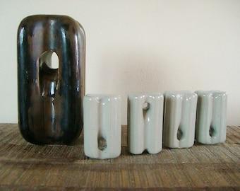 Set of Five Antique Ceramic Insulators