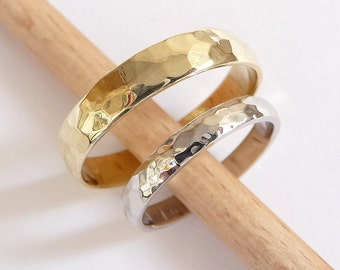 Wedding bands set yellow white gold wedding rings 4mm wide and 3mm wide hammered wedding rings