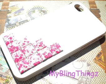 Pink n White Splatter Metal Pyramid Studs on Bright White Case Cover for Apple iPhone 4 4G 4S AT&T Verizon Sprint