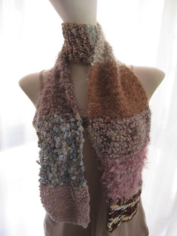 Long Mixed Novelty Patchwork Yarn Scarf