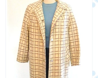 wool coat - womens plaid overcoat - 50s - 60s single breasted jacket