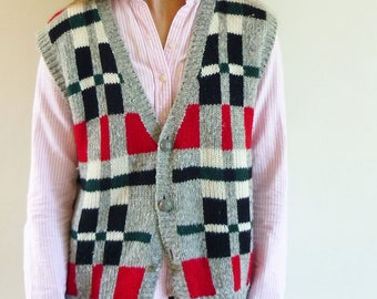 sweater vest - 80s Esprit colour block knit vest