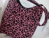 Sale Price Shoulder Bag Black Canvas with Pink Swirls / Front pocket READY TO SHIP