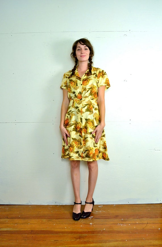 1950s Silky Sunburst Shirtwaist // Small // Medium