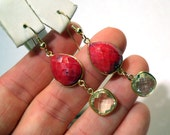 Briolette Dangle Earrings with Tear Drop Natrual Ruby and Natural Green Amethyst Gem Stones Wrapped in Gold Vermeil Perfect for a Wedding