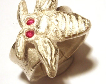 Silver Ruby Engagement Ring Honey Bee Recycled Fine Silver with Ruby Eyes Size 7.75 One Of A Kind Rare by Lisajoy Sachs Design Beekeeping