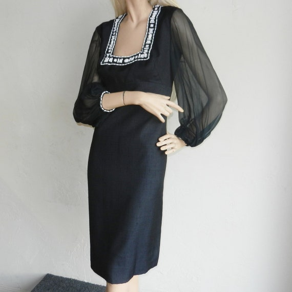 Vintage 60s 70s Mr. Blackwell Custom Design Black Shelf Bust Sheer Sleeves Cocktail Designer Dress