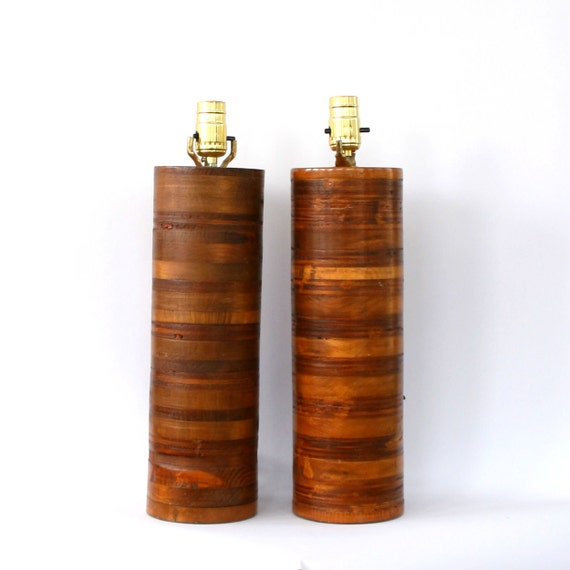 Pair Wood Lamps Mid Century Danish Modern Teak by  : il570xN471853697qjw0 from www.etsy.com size 570 x 570 jpeg 37kB