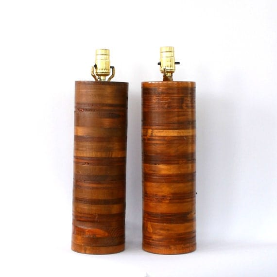 Pair Wood Lamps Mid Century Danish Modern Teak Tall Wooden