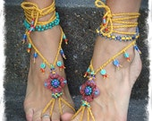 Shanti BAREFOOT SANDALS Red and Yellow Wedding beaded Crochet sandals Toe anklets foot jewelry Hippie Gypsy Foot Thong Bohemian shoes