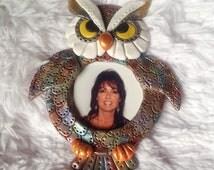 Polymer Clay Owl Picture Frame Fridge Magnet, Picture Frame, Owl Picture Frame Magnet, Fridge Magnet, Owl Magnet