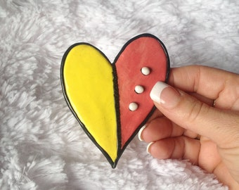 Polymer Clay Yellow and Dusty Rose Heart Fridge Magnet