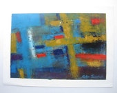 """Blue Abstract Painting original Oil on Paper 12x17"""" contemporary fine art by Toronto artist Katya Trischuk"""