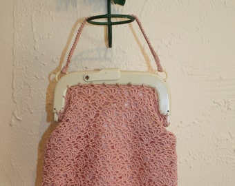 Great Depression Starts - Vintage 1930s Delicate Petal Pink Crochet Purse w/Pyralin Frame