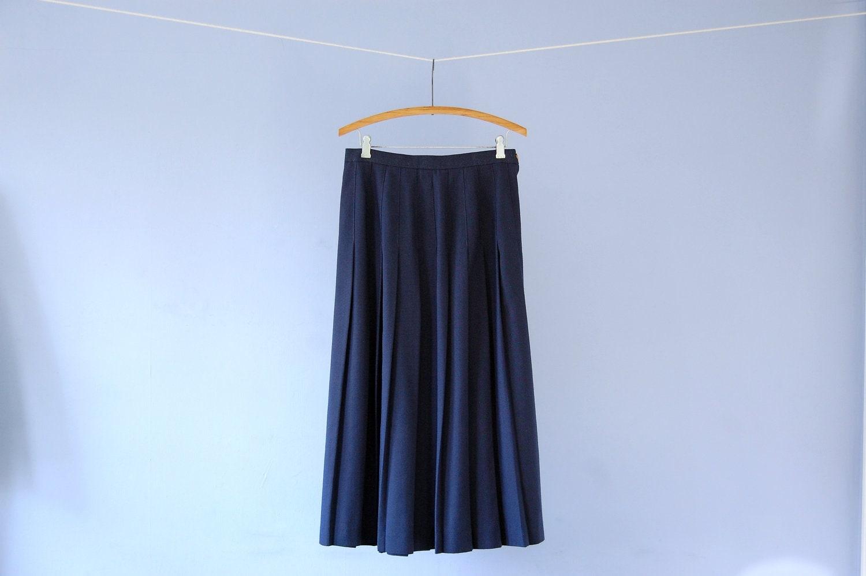 navy pleated skirt blue midi skirt vintage nautical knife