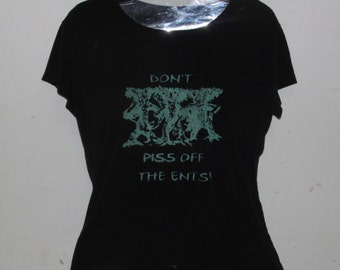 Tree Shirt - Don't Piss off the Ents, Medium Tshirt Fitted Top - Shiny Green on Black - silkscreen screenprint image unisex tree ent forest