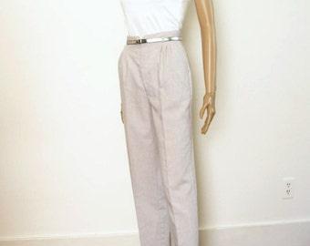 Vintage 1970s Slacks Light Gray High Waist Straight Leg Pants / XS