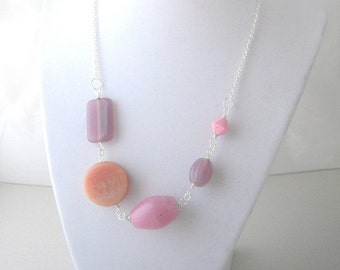Abstract Necklace,Pink Glass Necklace, Beaded Chain Necklace, Glass Bead Jewelry, Handmade Necklace, Unique Gift for Her
