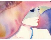 "Print of Watercolor Portrait of Julie Christie, Fashion Illustration. 13"" x 19"" Titled - Julie."