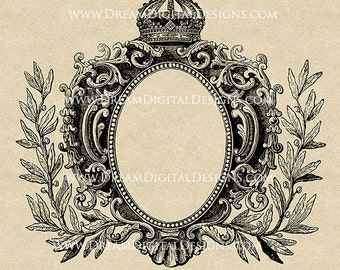 Printable Graphic Antique Frame with Crown Vintage Digital Clip Art