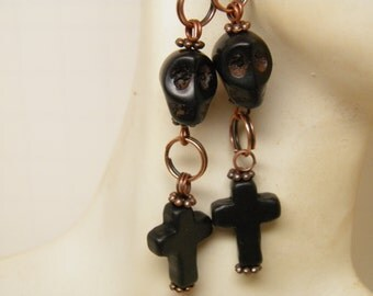 Day of the Dead Earrings, Black Turquoise Cross Black Skull Jewelry, Rockabilly Jewelry, Goth Day of the Dead Jewelry Halloween Earrings